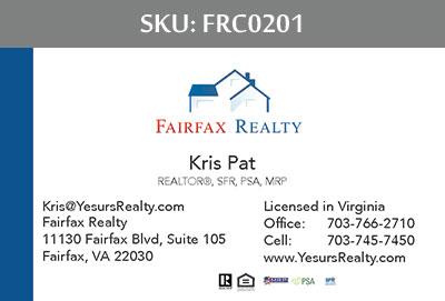 Fairfax Realty Business Cards - FRC0201