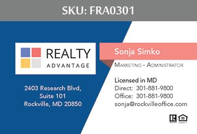 Fairfax Realty Advantage Business Cards - FRA0301