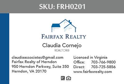 Fairfax Realty Tysons Business Cards - FRH0201