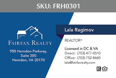 Fairfax Realty Tysons Business Cards - FRH0301