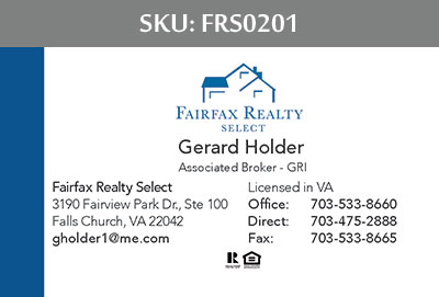Fairfax Realty Select Business Cards - FRS0201