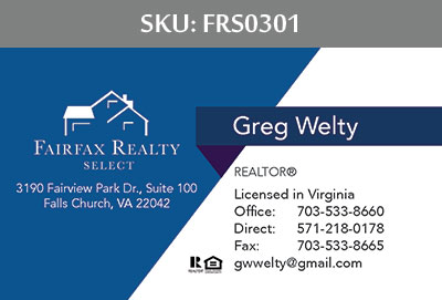 Fairfax Realty Select Business Cards - FRS0301