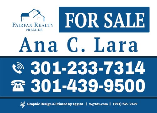 247101.com - Fairfax Realty Yard Sign - Ana C Lara