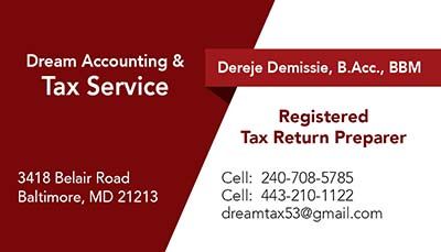 247101.com - Dream Accounting Tax Service - Business Cards