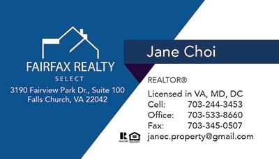 Fairfax Realty - Business Cards - Jane Choi