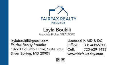 Fairfax Realty - Business Cards - Layla Boukili