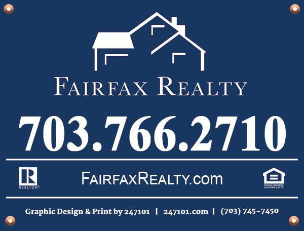 247101 - Fairfax Realty Yard Signs - YS2201 - 4 Grommets
