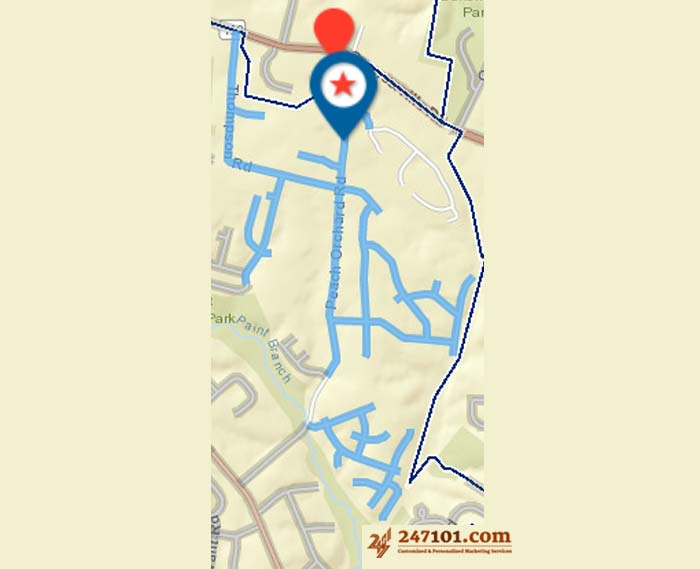 Mailing Route - Janet Liriano - 15615 Peach Orchard Rd, Silver Spring, MD 20905