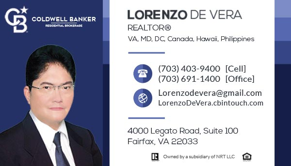 Business Cards - Lorenzo De Vera - REALTOR @ Coldwell Banker