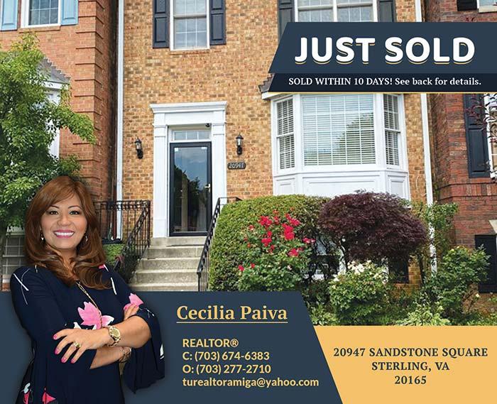 20947 Sandstone Square Sterling, VA 20165 - Postcard Mailers for Cecilia Paiva