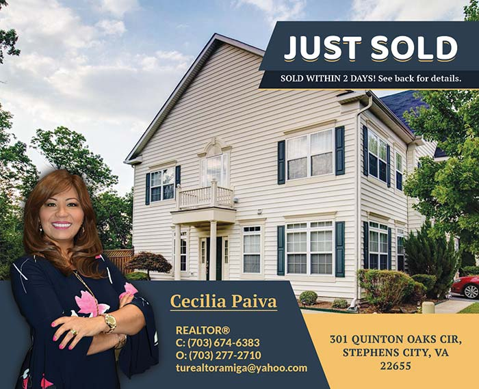 301 Quinton Oaks Cir, Stephens City, VA 22655 - Postcard Mailers for Cecilia Paiva