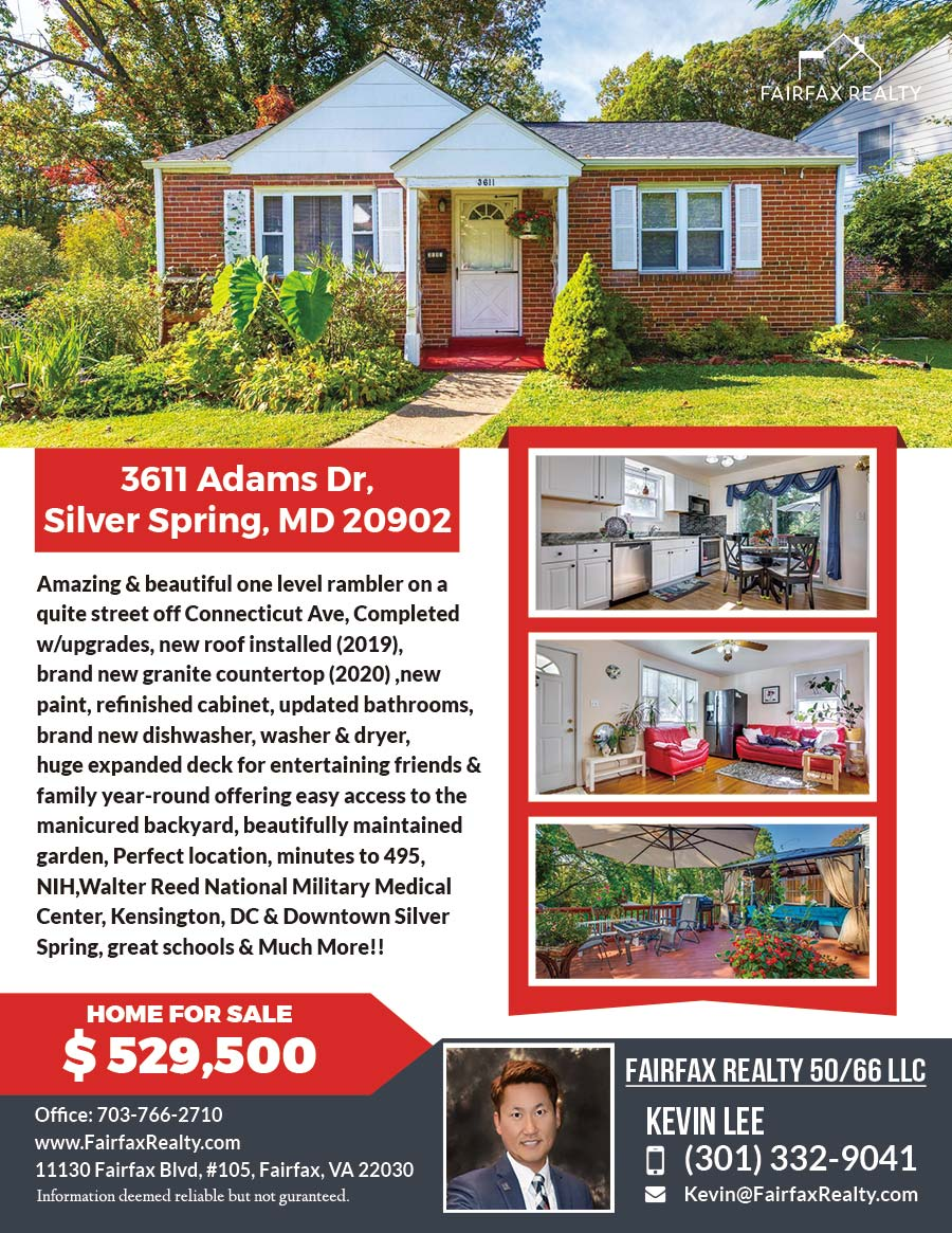 3611 Adams Dr, Silver Spring, MD 20902 - Front