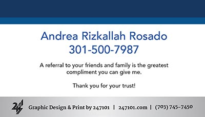 Fairfax Realty Business Cards - Andrea Rizkallah Rosado