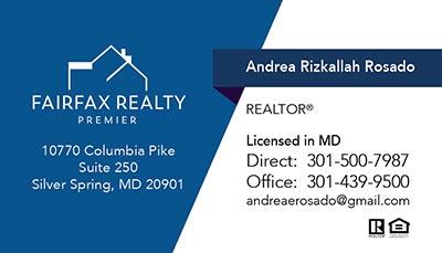 Fairfax Realty Business Cards - Andrea Rizkallah Rosado