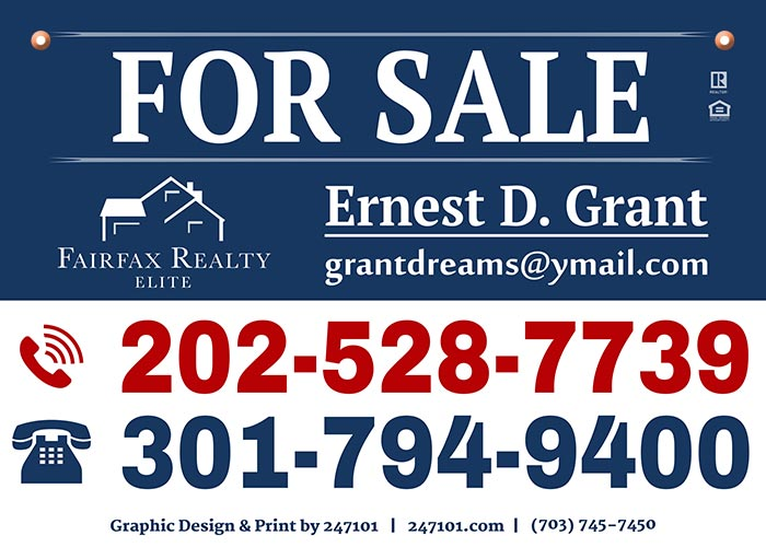 Fairfax Realty Yard Signs - Ernest Grant