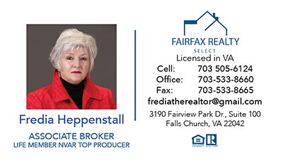 Fairfax Realty - Business Cards - Fredia Heppenstall