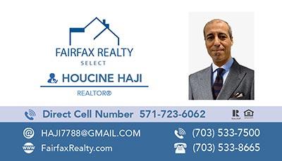 Fairfax Realty - Business Cards - Lahoucine Haji - Houcine Haji