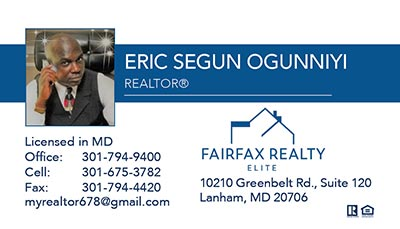 Realtors Business Cards for Fairfax Realty Elite