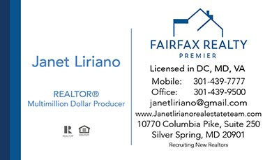 Business Cards for Fairfax Realty Premier - Janet Liriano