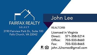 Fairfax Realty Business Cards John Lee