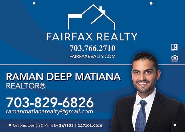 Fairfax Realty Signs - Raman Deep Matiana