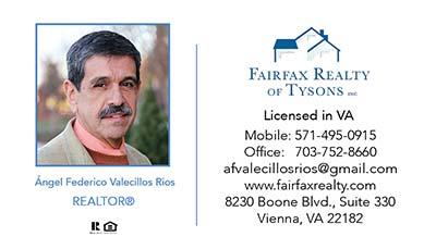 Realtors Business Cards for Fairfax Realty - Ángel Federico Valecillos Rios