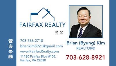 Business Cards for Fairfax Realty Agent - Brian Kim