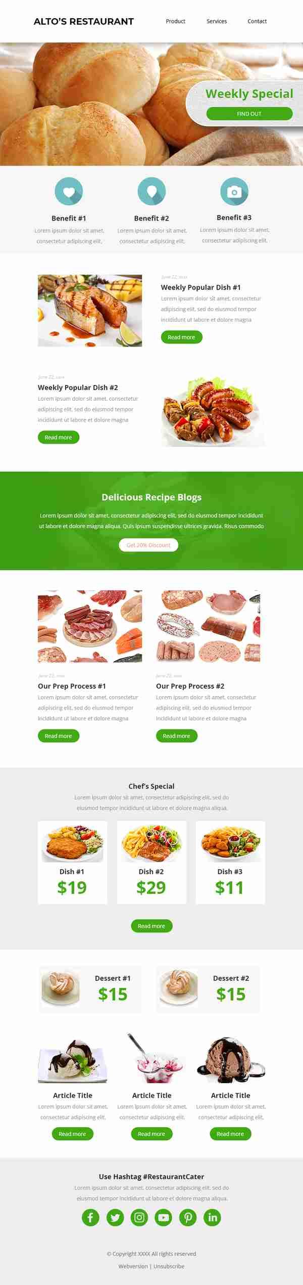 Email Marketing Design for Restaurant & Bakery Industry - SKU: EM0102 - 247101