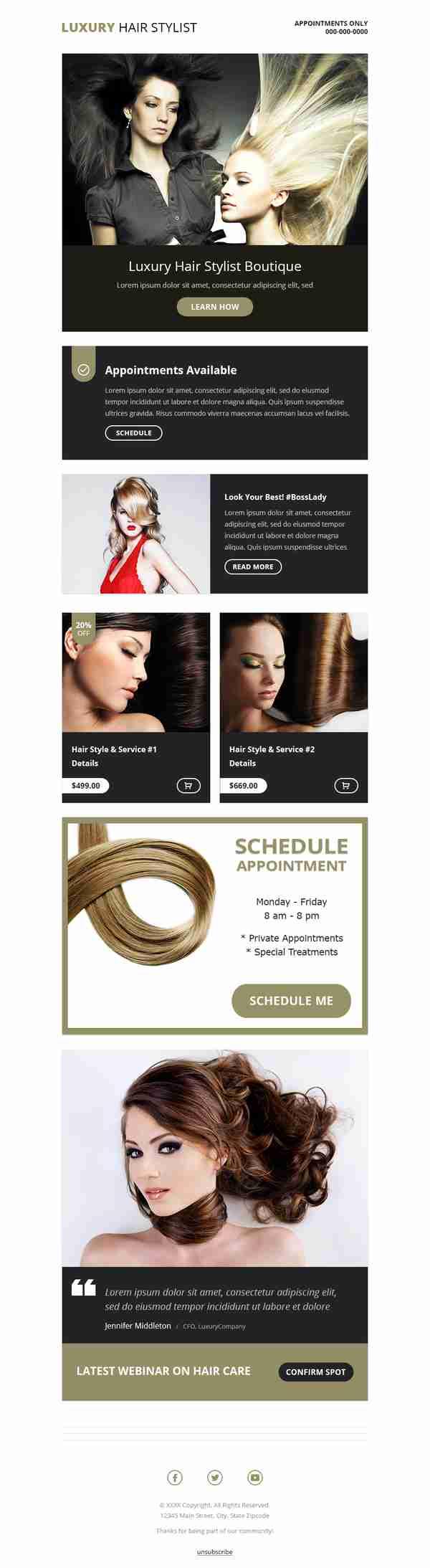 Email Marketing Design for Hair Stylists & Salons Industry - SKU: EM0702 - 247101