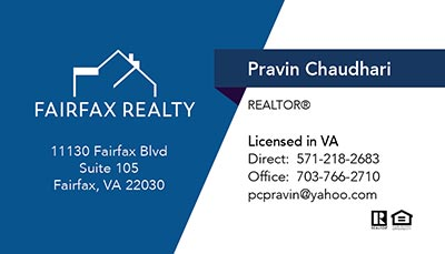 Business Cards for Fairfax Realty Agent - Pravin Chaudhari