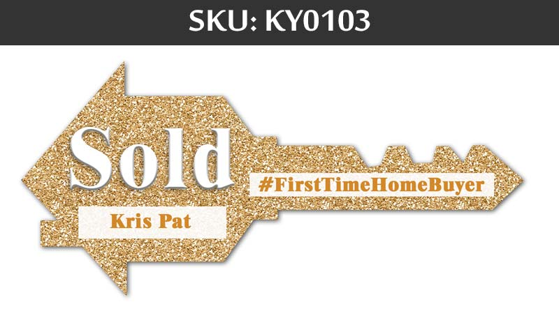 Gold glitter sign for Sold first time home buyer sign for fairfax realty agents