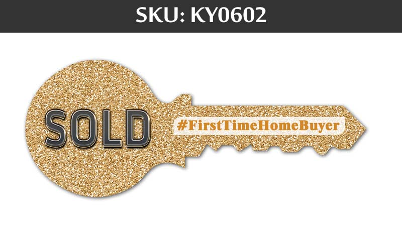 sold sign with glitter background with first time home buyer hashtag for fairfax realty