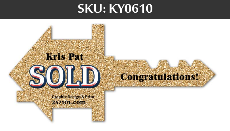 sold sign with gold glitter background and congratulations