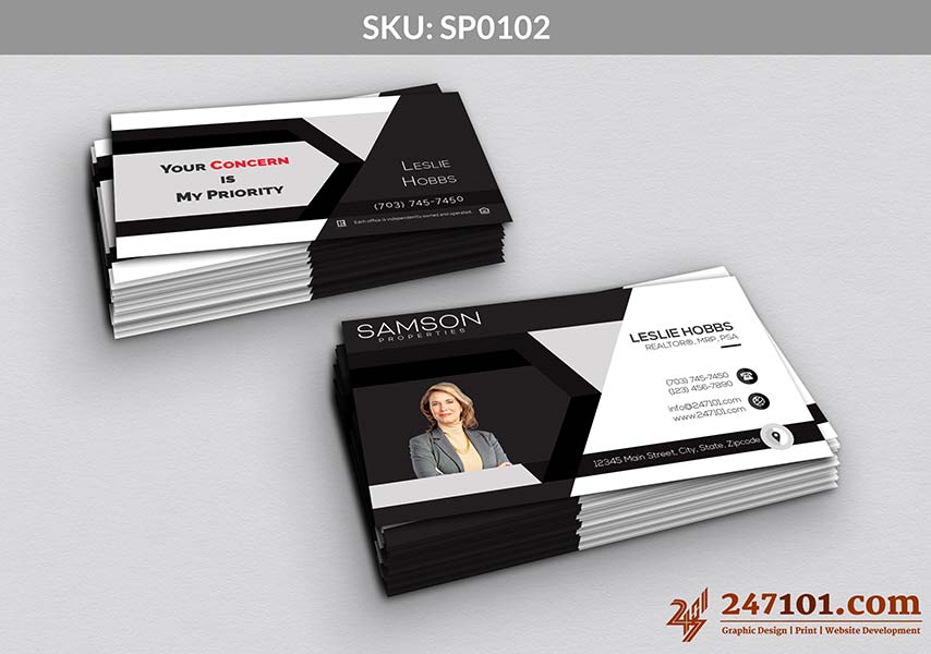 Business Card Horizontal Side with Agent Profile Photo and Contact Details