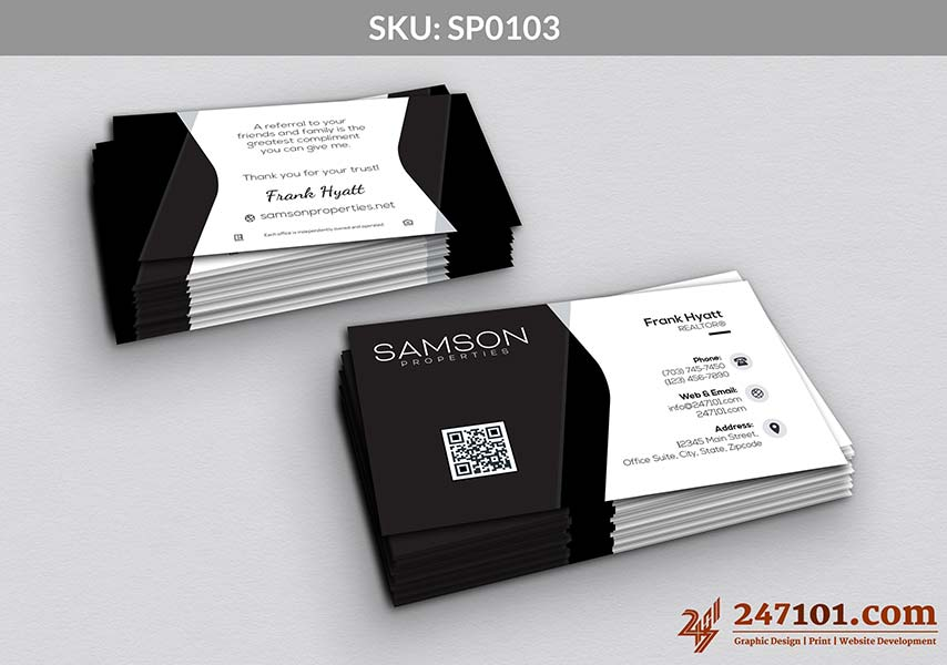 Samson Properties Business Cards with QR Code on Front and Quote on Backside