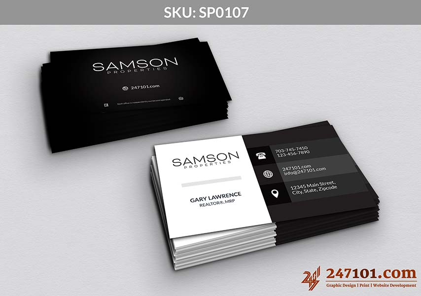 Samson Properties business Cards with Agent Details and Real Estate Company Details