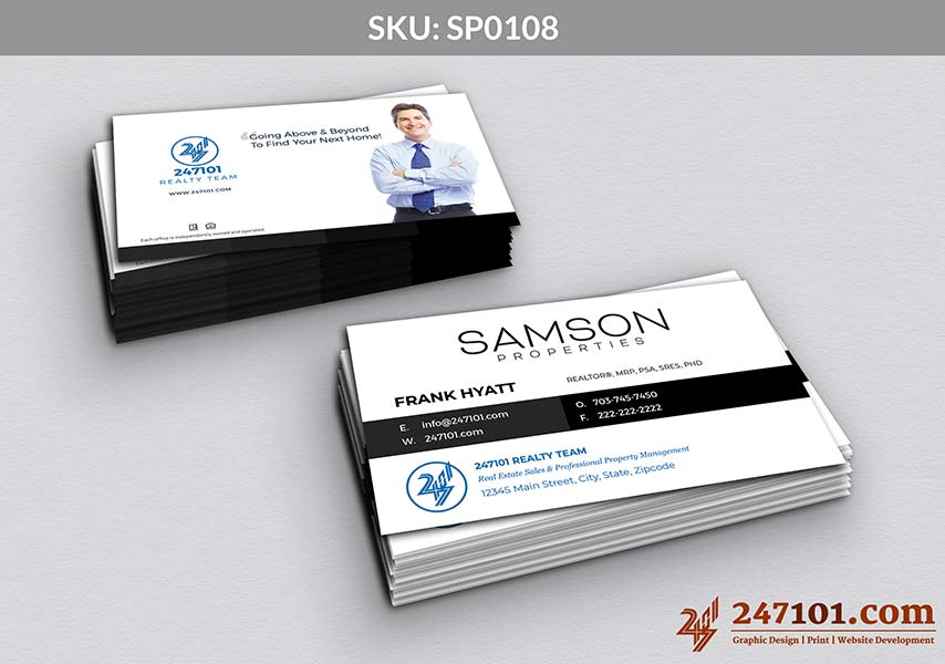 Samson Properties Business Card with Team Details and White Front Side and Back side