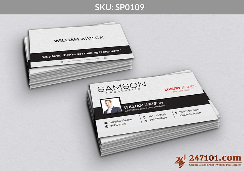 Samson Properties - Business Cards White Texture Front & Backside with Quote and Agent Name