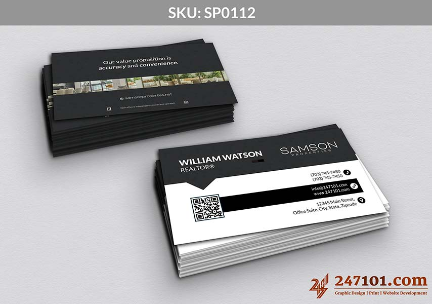 Business Card Front White Texture and Back Side Quote with Image