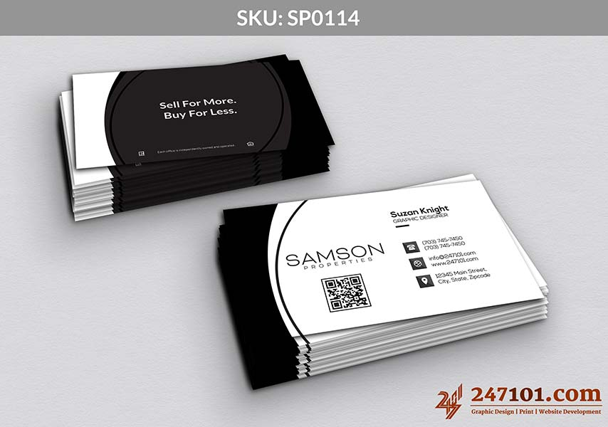 White Layout Business Cards on Front with QR Code and Black Side Back with Quote
