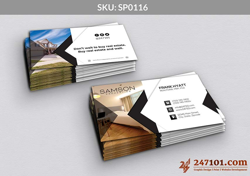 Business Cards for Samson Properties Agent - Black and White Color Scheme