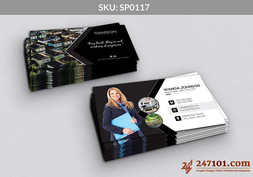 Business Cards for Samson Properties - Black and White color Scheme marketing material