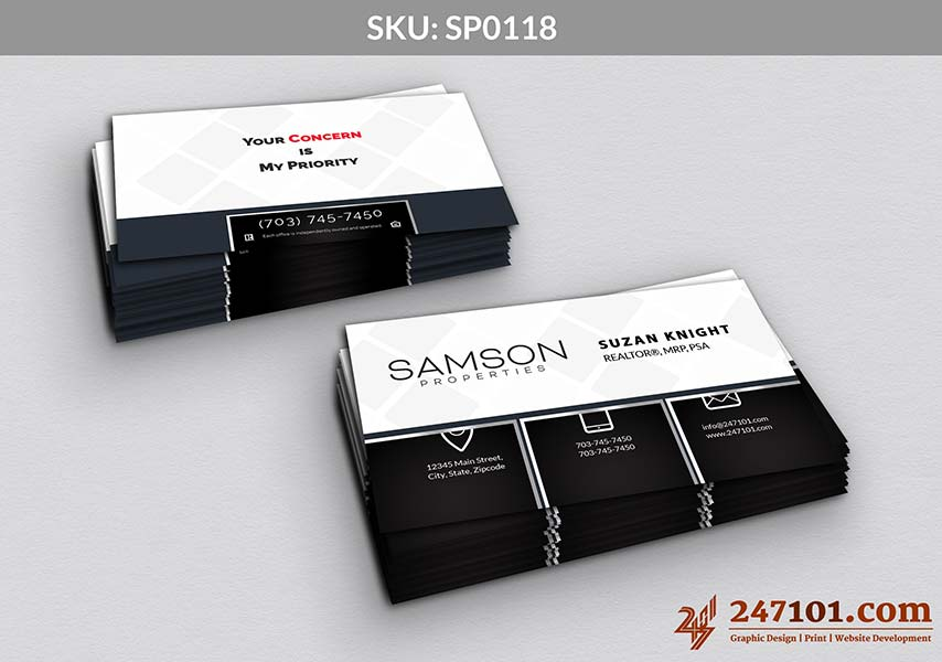 Business Cards with Checks on the Back and Samson Properties Color Scheme