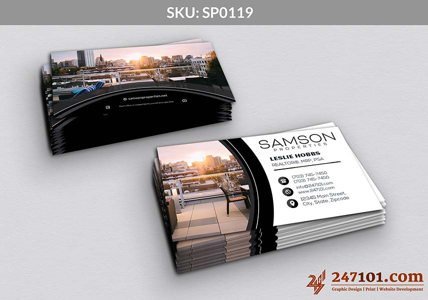 Samson Properties Business Cards with Colorful images front and Back
