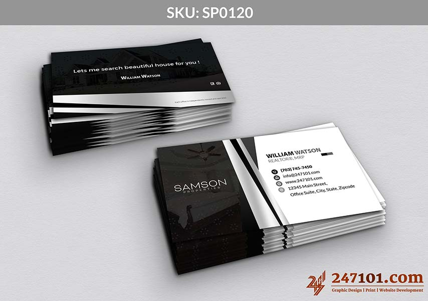 Realtor Business Cards with Samson Properties Black and White Color Scheme