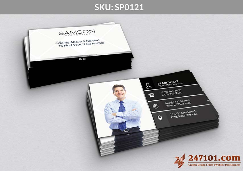 Black and White Color Scheme Business Cards with Profile Photo of Realtor
