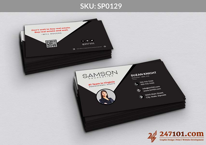 Samson Properties Horizontal Business Cards with Profile Agent Photo Black and White Samson Properties Color Theme