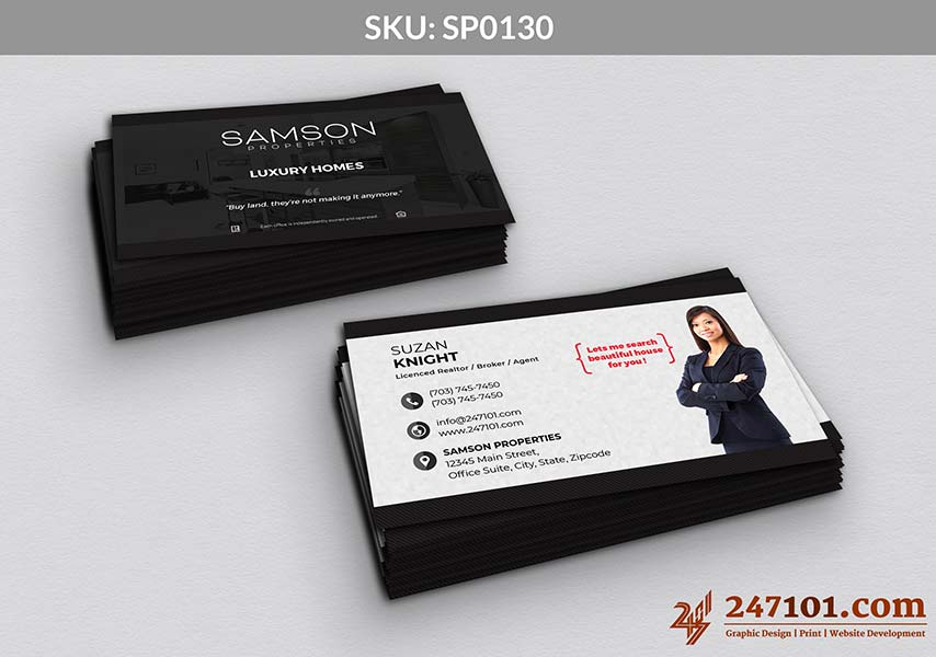 Samson Properties Black and White Color Scheme Business Cards