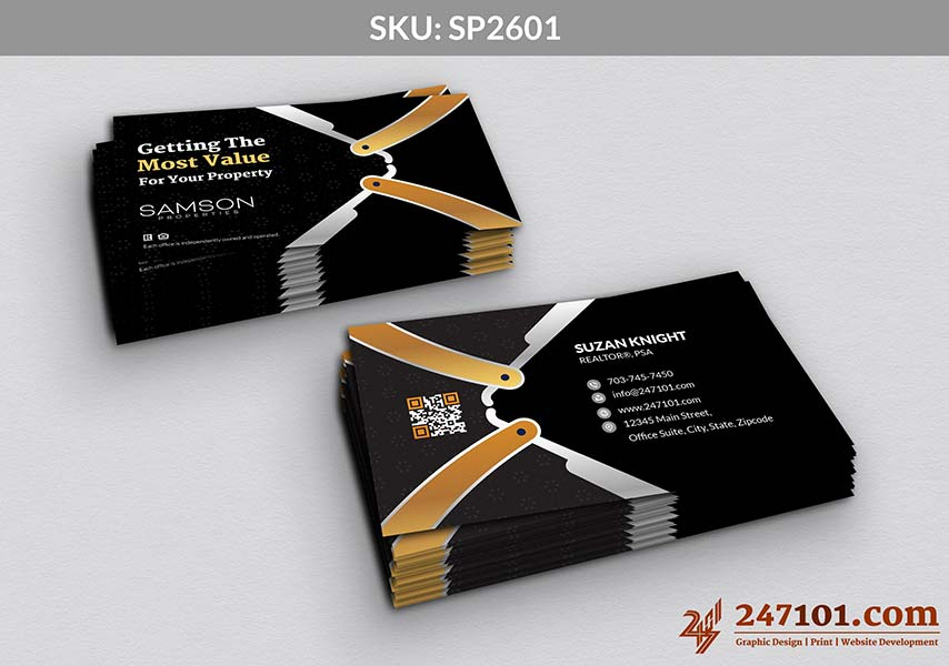 Golden and Dark Gray Color Business Cards for Samson Properties Agents