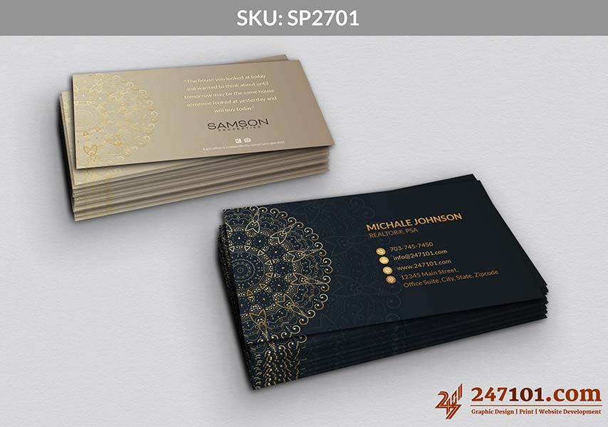 Golden and Navy Blue Color Business Cards for Samson Properties Agents